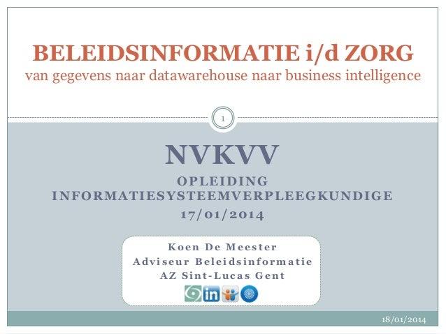BELEIDSINFORMATIE i/d ZORG van gegevens naar datawarehouse naar business intelligence 1  NVKVV OPLEIDING INFORMATIESYSTEEM...