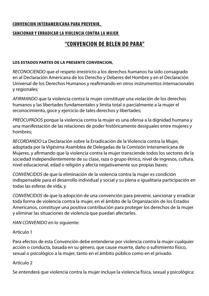 """CONVENCION INTERAMERICANA PARA PREVENIR, SANCIONAR Y ERRADICAR LA VIOLENCIA CONTRA LA MUJER                            """"CO..."""