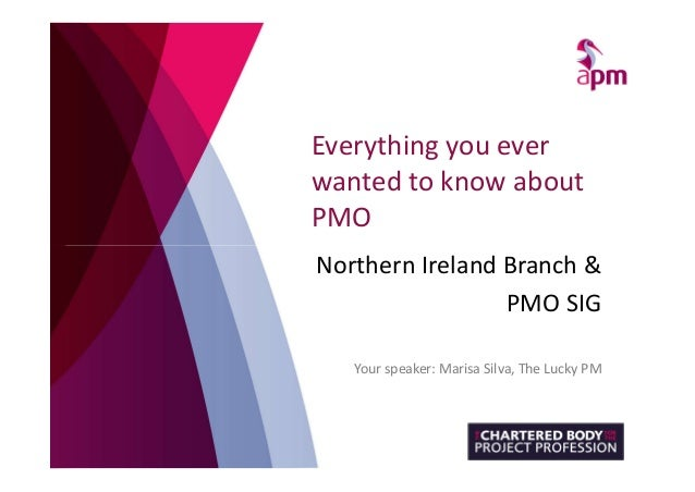 Everything you ever wanted to know about PMO Northern Ireland Branch & PMO SIG Your speaker: Marisa Silva, The Lucky PM