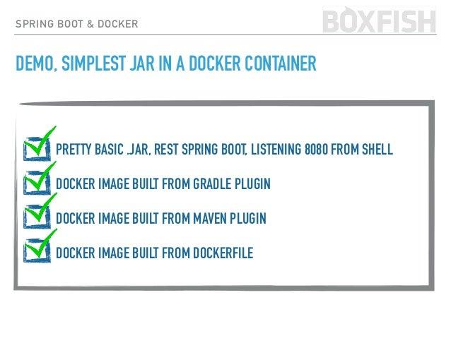 SPRING BOOT & DOCKER DEMO, SIMPLEST JAR IN A DOCKER CONTAINER https://github.com /hudsonmendes /belfastjug-sample-2 /br...
