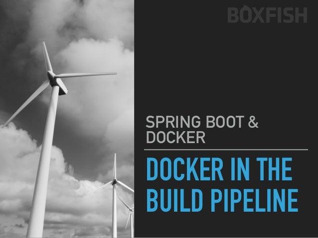 SPRING BOOT & DOCKER DOCKER IN THE BUILD PIPELINE $ (develop) git push ECR REPOSITORY ECS ORCHESTRATION EC2 UBUNTU $ docke...