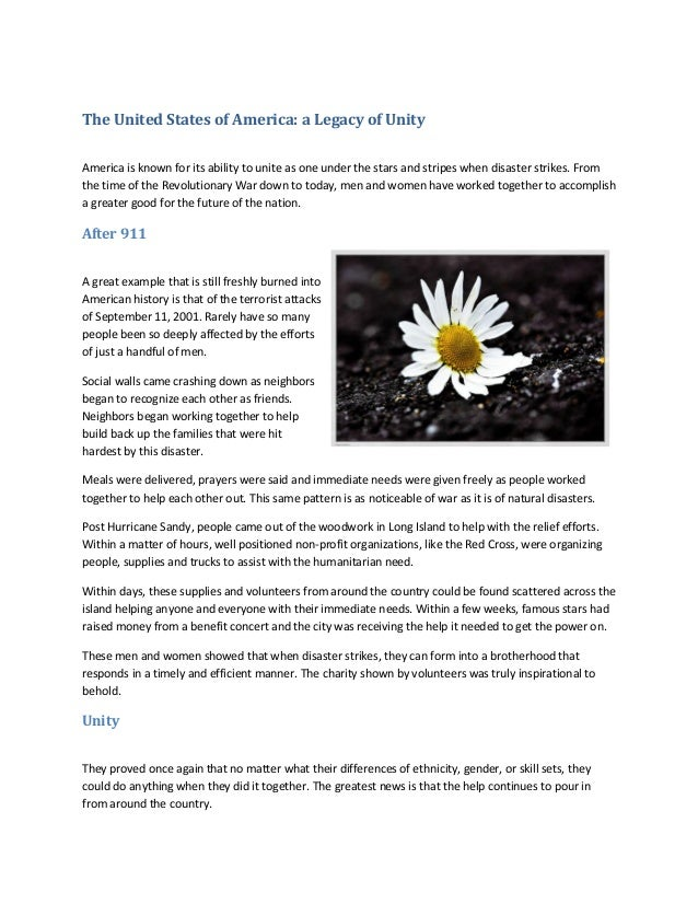 The United States of America: a Legacy of Unity