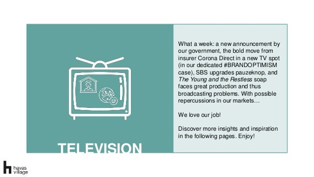 TELEVISION What a week: a new announcement by our government, the bold move from insurer Corona Direct in a new TV spot (i...