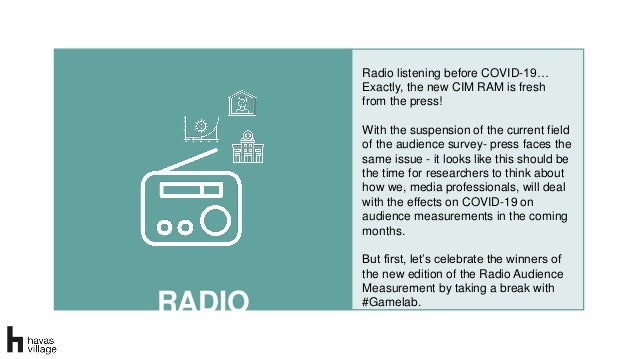 RADIO Radio listening before COVID-19… Exactly, the new CIM RAM is fresh from the press! With the suspension of the curren...