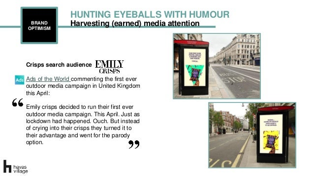 Harvesting (earned) media attentionBRAND OPTIMISM HUNTING EYEBALLS WITH HUMOUR Crisps search audience Ads of the World com...