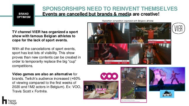 Events are cancelled but brands & media are creative!BRAND OPTIMISM SPONSORSHIPS NEED TO REINVENT THEMSELVES Heptathlon co...