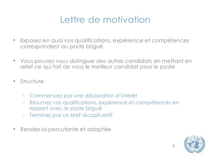 modele lettre de motivation nations unies