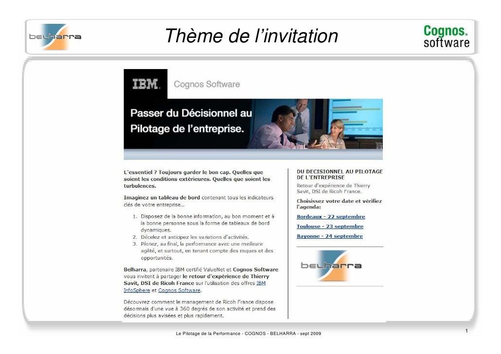 Thème de l'invitation                                                                      1  Le Pilotage de la Performanc...