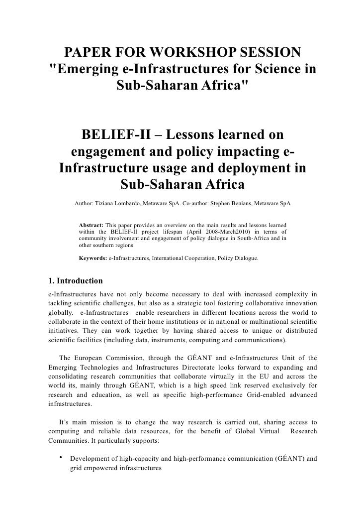 """PAPER FOR WORKSHOP SESSION""""Emerging e-Infrastructures for Science in         Sub-Saharan Africa""""       BELIEF-II – Lessons..."""