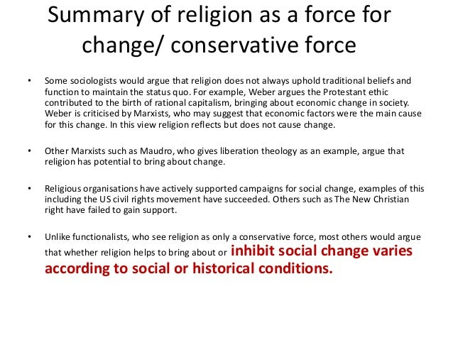 Religion as a Conservative Force Essay Sample