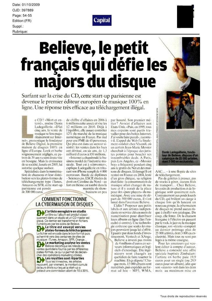 Date: 01/10/2009 OJD: 397889 Page: 54-55 Edition:(FR) Suppl.: Rubrique:                        Tous droits de reproduction...