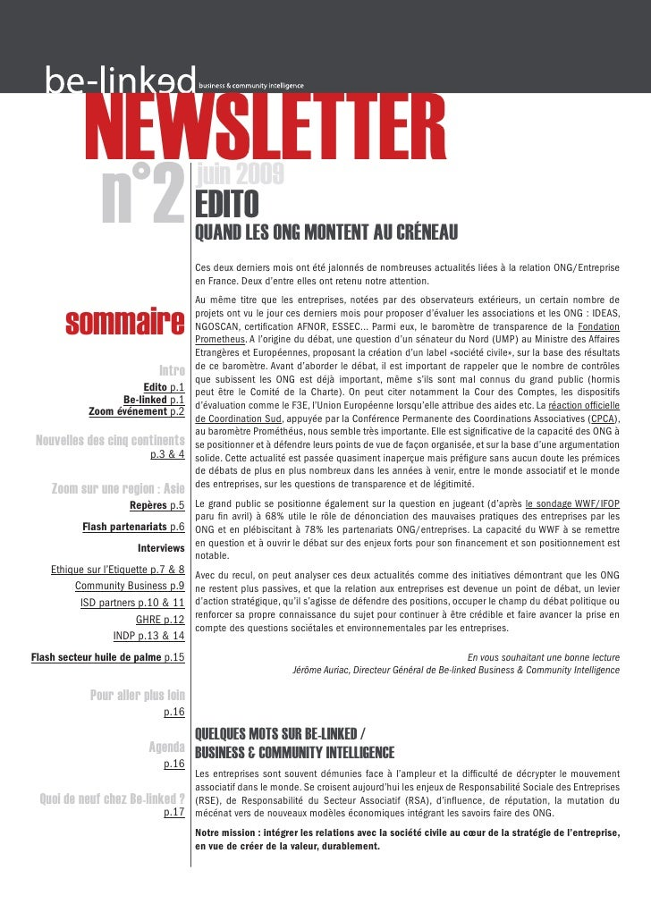 NEWSLETTER                n°2 EDITO             juin 2009                                      QUAND LES ONG MONTENT AU CR...