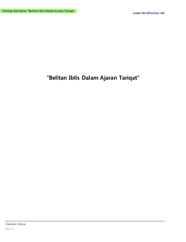 "www.darulkautsar.net Halaman Utama m/s. 1 PetikanDari Buku""BelitanIblisDalamAjaranTariqat ""Belitan Iblis Dalam Ajaran Tari..."
