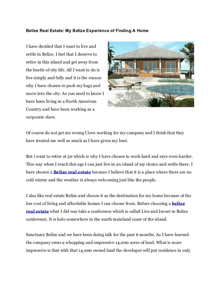 Belize Real Estate: My Belize Experience of Finding A HomeI have decided that I want to live andsettle in Belize. I feel t...