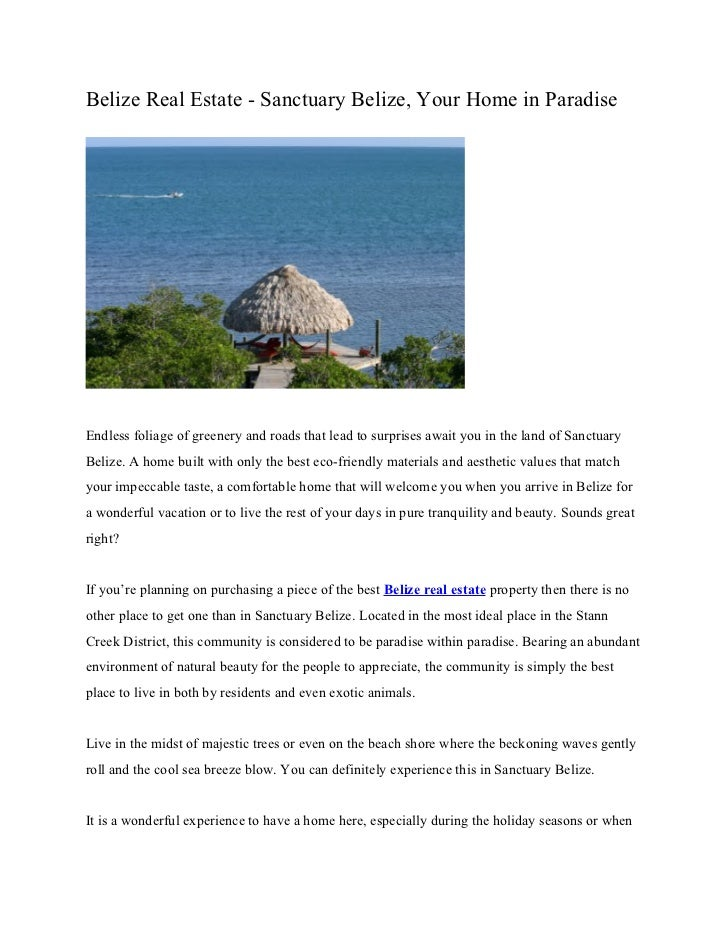 Belize Real Estate - Sanctuary Belize, Your Home in ParadiseEndless foliage of greenery and roads that lead to surprises a...