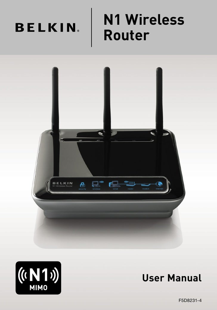 N1 WirelessRouter     User Manual           F5D8231-4
