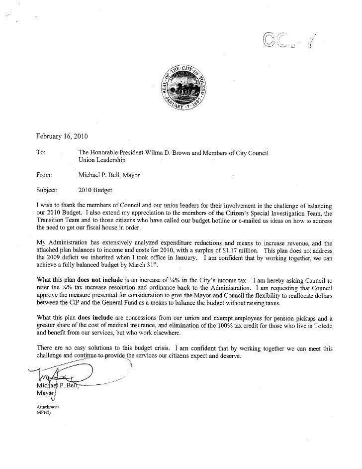 Bell's letter asking council to pull the tax ordinance