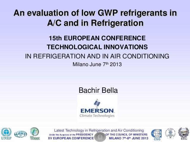 Bachir Bella - Emerson Climate Technologies - REFRIGERANTI A