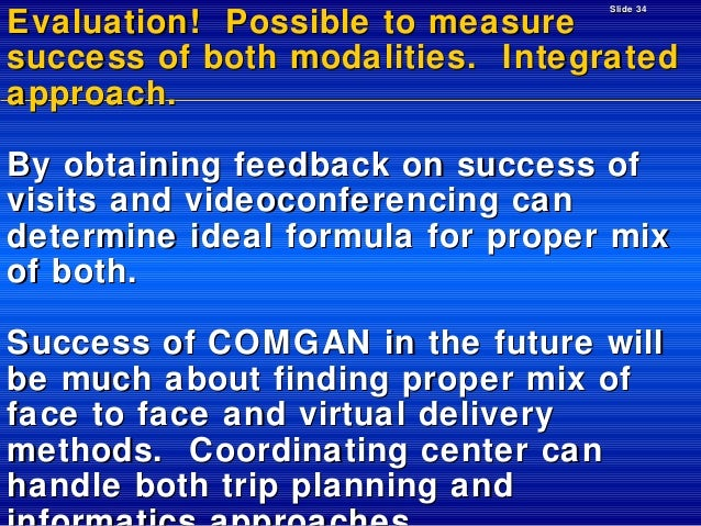 Slide 34  Evaluation! Possible to measure success of both modalities. Integrated approach. By obtaining feedback on succes...