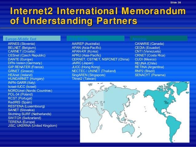 Slide 38  Internet2 International Memorandum of Understanding Partners Europe-Middle East ARNES (Slovenia) BELNET (Belgium...