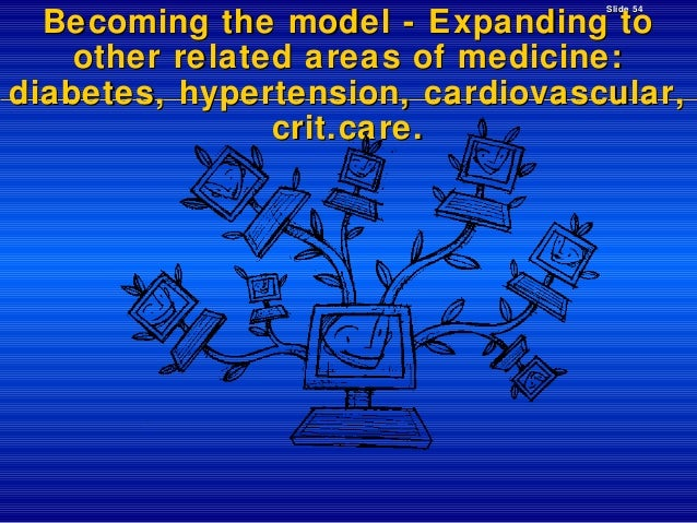 Slide 54  Becoming the model - Expanding to other related areas of medicine: diabetes, hypertension, cardiovascular, crit....