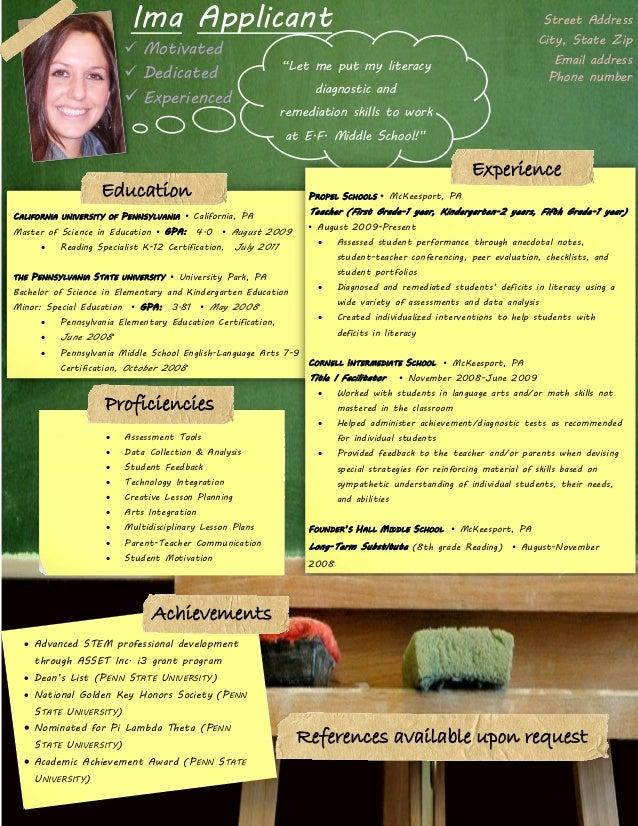 elementary teaching resume Resume Template For Teachers