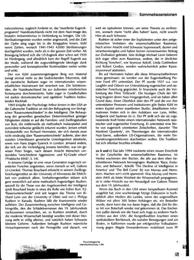 Galton's Juenger - Auftrieb fuer Biologismus und wissenschaftlichen Rassismus? (A review of The Bell Curve) Slide 3