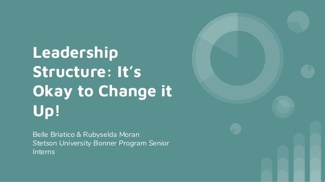 Leadership Structure: It's Okay to Change it Up! Belle Briatico & Rubyselda Moran Stetson University Bonner Program Senior...