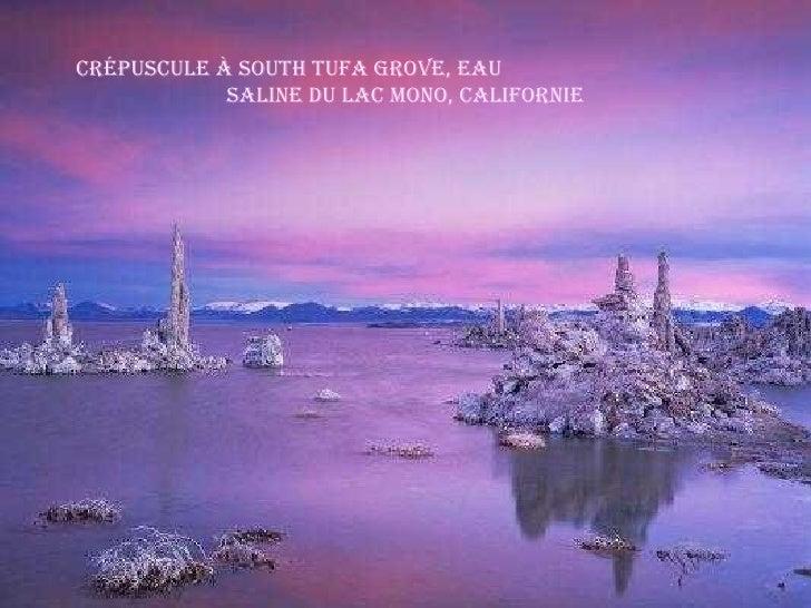 Crépuscule à South Tufa Grove, Eau  saline du Lac Mono, Californie