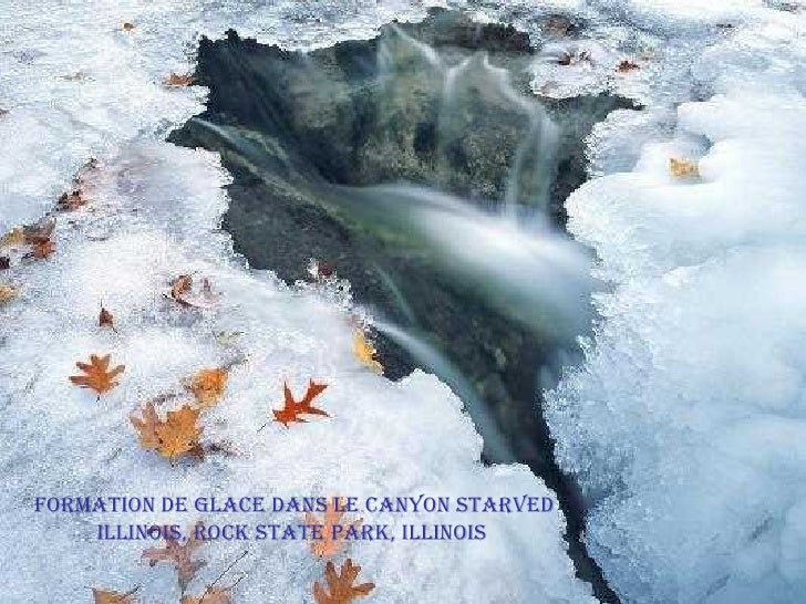 Formation de glace dans le Canyon Starved Illinois, Rock State Park, Illinois