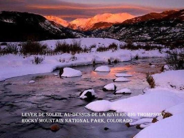 Lever de soleil au-dessus de la Rivière Big Thompson, Rocky Mountain National Park, Colorado