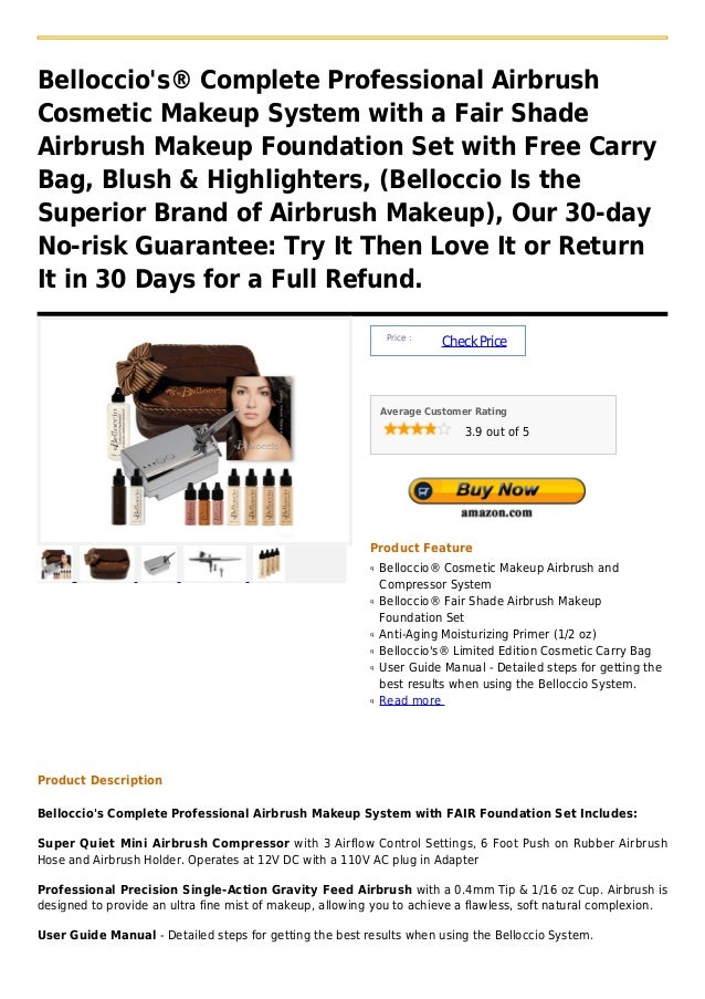 Belloccios® Complete Professional AirbrushCosmetic Makeup System with a Fair ShadeAirbrush Makeup Foundation Set with Free...