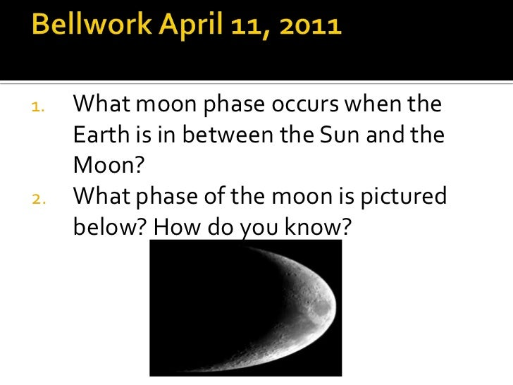 Bellwork April 11, 2011<br />What moon phase occurs when the Earth is in between the Sun and the Moon?<br />What phase of ...