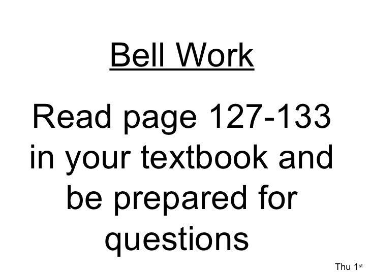 Bellwork Week 2