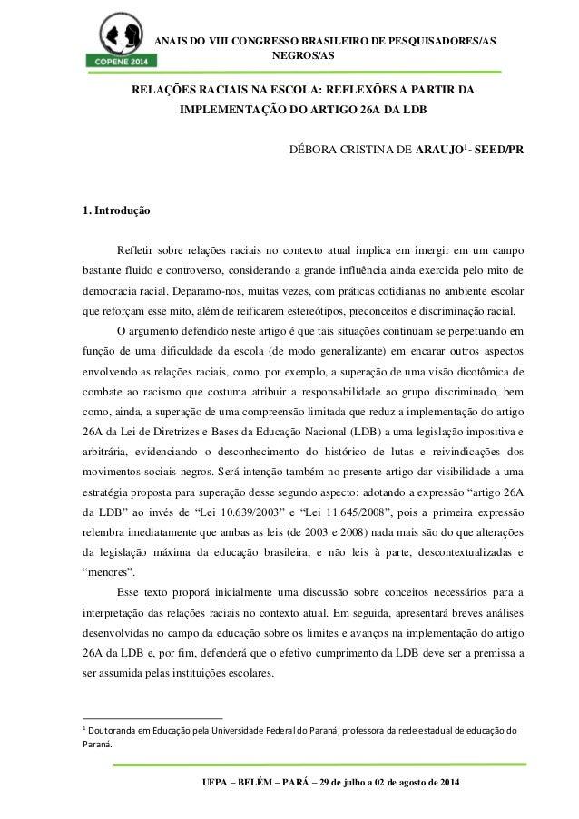 ANAIS DO VIII CONGRESSO BRASILEIRO DE PESQUISADORES/AS NEGROS/AS UFPA – BELÉM – PARÁ – 29 de julho a 02 de agosto de 2014 ...