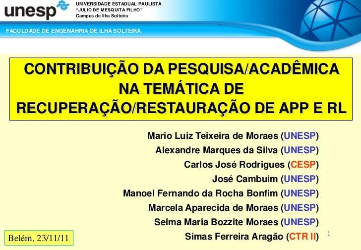 """UNIVERSIDADE ESTADUAL PAULISTA                    """"JULIO DE MESQUITA FILHO""""                    Campus de Ilha SolteiraFACU..."""