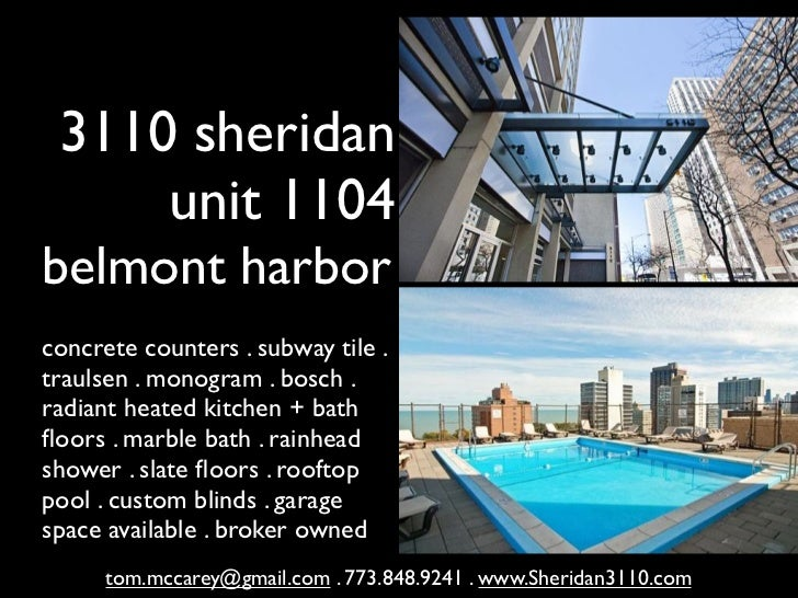 3110 sheridan     unit 1104belmont harborconcrete counters . subway tile .traulsen . monogram . bosch .radiant heated kitc...