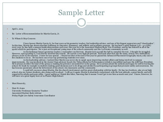 sample letters of reccomendation