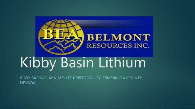 Kibby Basin Lithium KIBBY BASIN/PLAYA, MONTE CRISTO VALLEY, ESMERALDA COUNTY, NEVADA