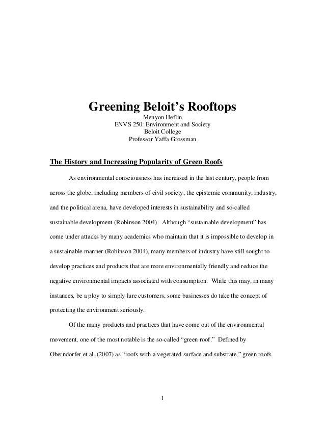 Greening Beloit's Rooftops                                  Menyon Heflin                          ENVS 250: Environment a...