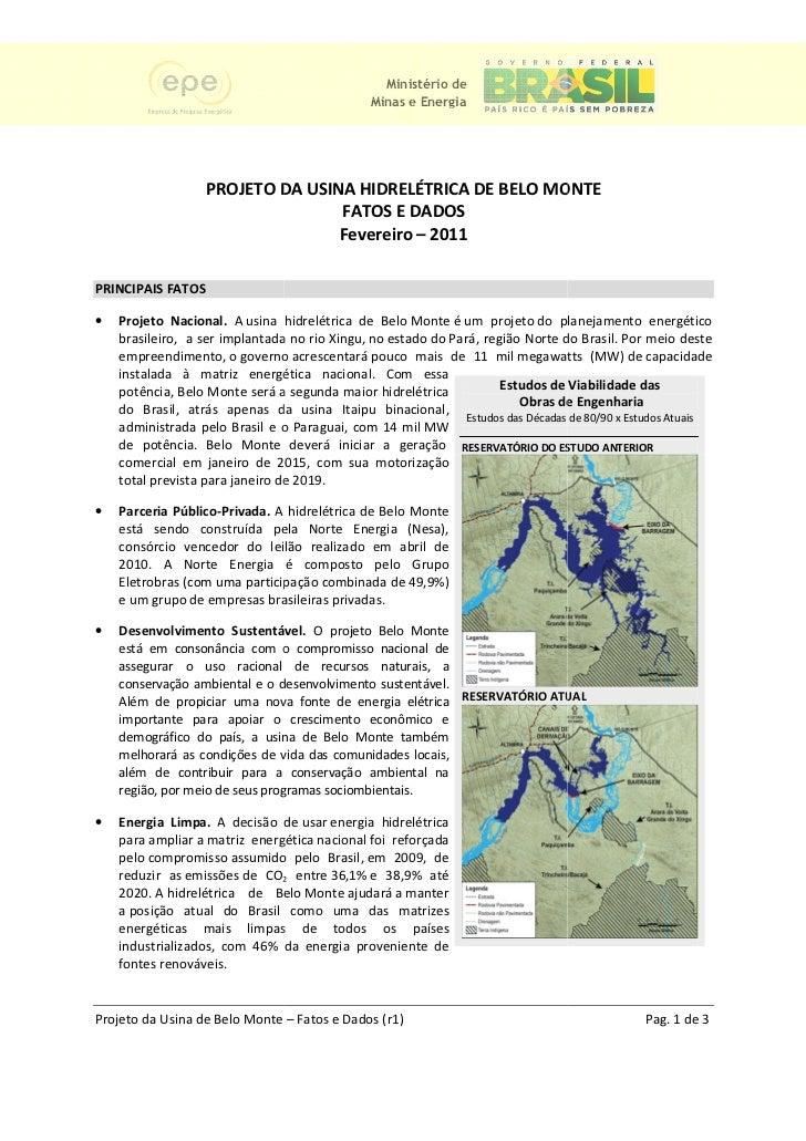 Ministério de                                                Minas e Energia                   PROJETO DA USINA HIDRELÉTRI...