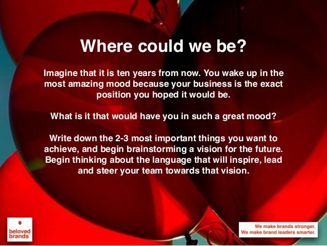 Where could we be? Imagine that it is ten years from now. You wake up in the most amazing mood because your business is th...