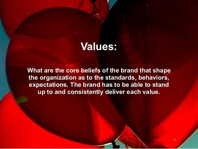 Values: What are the core beliefs of the brand that shape the organization as to the standards, behaviors, expectations. T...