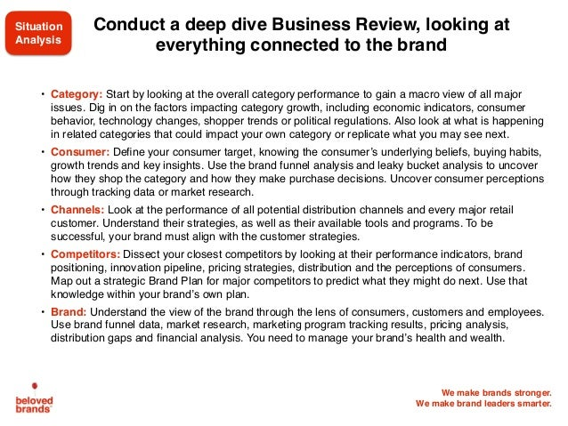 We make brands stronger. We make brand leaders smarter. Conduct a deep dive Business Review, looking at everything connect...