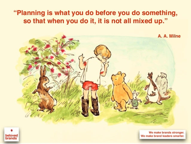 """""""Planning is what you do before you do something, so that when you do it, it is not all mixed up."""" A. A. Milne"""