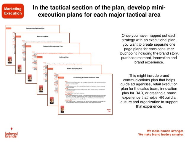 We make brands stronger. We make brand leaders smarter. In the tactical section of the plan, develop mini- execution plans...