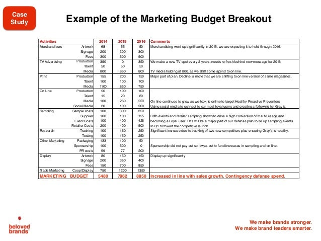 We make brands stronger. We make brand leaders smarter. Example of the Marketing Budget Breakout Activities 2014 2015 2016...