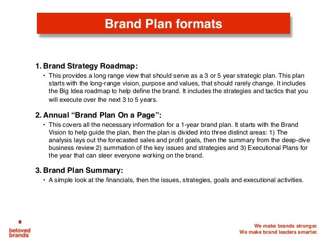 Brand Plan formats 1. Brand Strategy Roadmap: • This provides a long range view that should serve as a 3 or 5 year strateg...