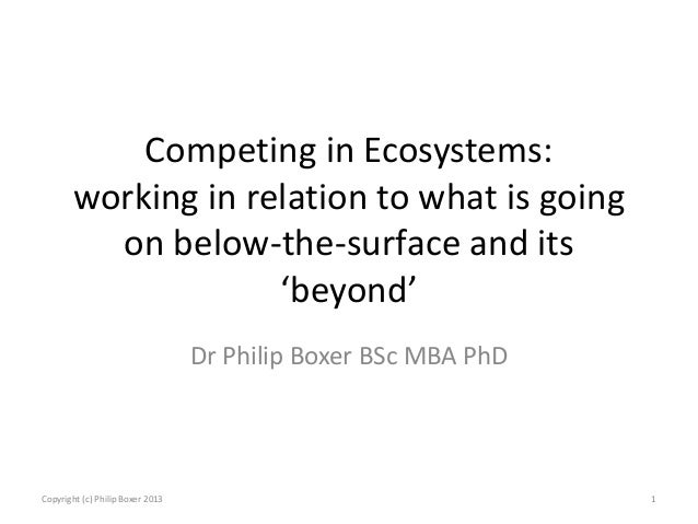 Competing in Ecosystems: working in relation to what is going on below-the-surface and its 'beyond' Dr Philip Boxer BSc MB...