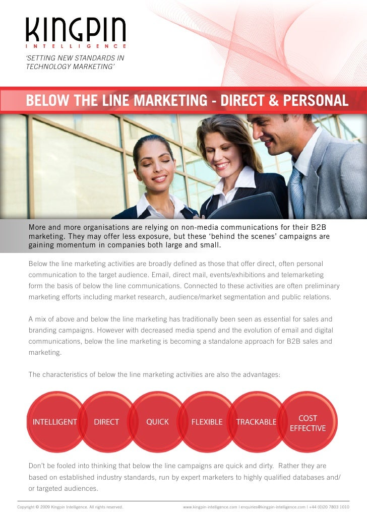'SETTING NEW STANDARDS IN     TECHNOLOGY MARKETING'         BELOW THE LINE MARKETING - DIRECT & PERSONAL           More an...